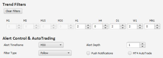 fx index analyzer pro - trend filter controls