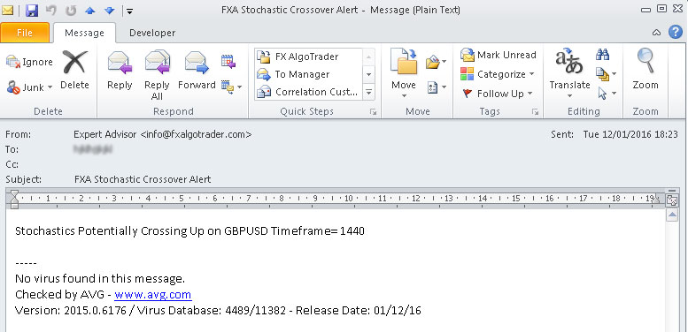 Email generated by Stochastics Alert System