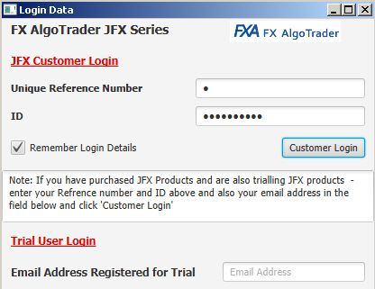 MetaTrader MT4 Automated Trendline Trading - Logging into JFX Product Catalogue